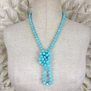 """Jewelry - Faux Turquoise 38"""" Knotted Endless Necklace"""
